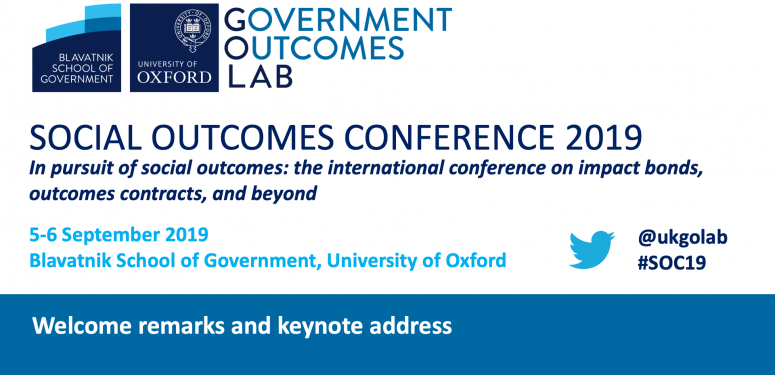 Social Outcomes Conference 2019: Welcome remarks and keynote address