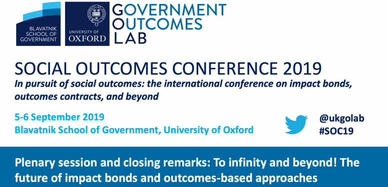 Social Outcomes Conference 2019: To infinity and beyond! The future of impact bonds and outcomes-based approaches