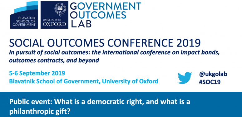Social Outcomes Conference 2019: What is a democratic right, and what is a philanthropic gift?