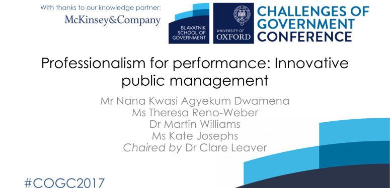 Public sector deep dive: Professionalism for performance: Innovative public management
